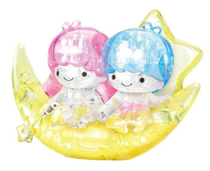 日本進口拼圖 三麗鷗 雙子星 kiki&lala 51片3D立體塑膠透明水晶拼圖 7643
