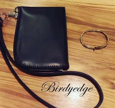 【BIRDYEDGE】訂製 手拿包 皮包 掛包 掛頸包 暗黑包 掛繩包 吊繩包 皮革包 手機包 Korea Zara真皮