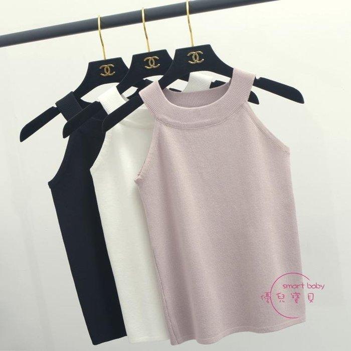 針織衫女套頭夏裝短版吊帶上衣掛脖黑色無袖小背心修身打底衫