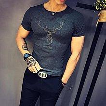 短袖T恤男新款潮流韓版修身打底衫緊身純色衣服社會小夥個性上衣