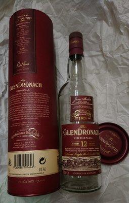 Glen Dronach aged 12 years空玻璃酒瓶+外包裝盒(紙筒禮盒) 台北市