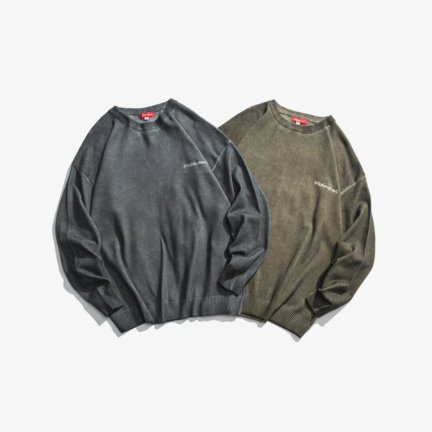 FINDSENSE 2019 秋季上新 G7 復古做舊復古刺繡毛衣 上衣 男裝