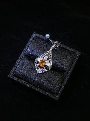 天然 1.00克拉 黃色藍寶石 黃色剛玉 鑽石 項鍊 附證書【鍾愛國際精品】
