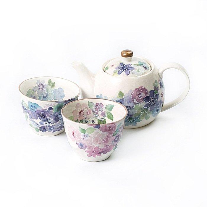〖洋碼頭〗日本原產ceramic藍美濃燒茶壺茶杯一壺兩杯套裝花工房 L2930
