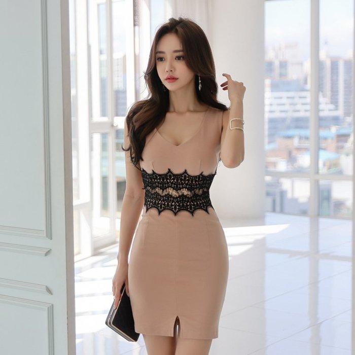 ☆噹噹小舖☆韓版時尚V領無袖拼接蕾絲縷空修身包臀洋裝