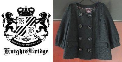 百貨專櫃【KnightsBridge】黑色 貴族風範 65%羊毛 雙排扣 珍珠毛 圓領外套~直購價1290~圓