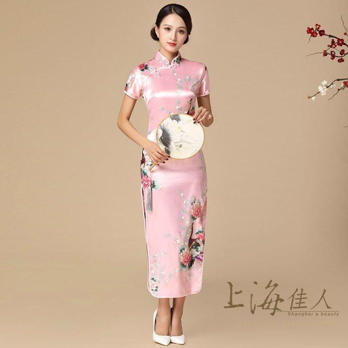 上海佳人 平價旗袍唐裝 全新中國風薄款改良式仿絲印花短袖開岔長旗袍/美麗孔雀/粉紅色
