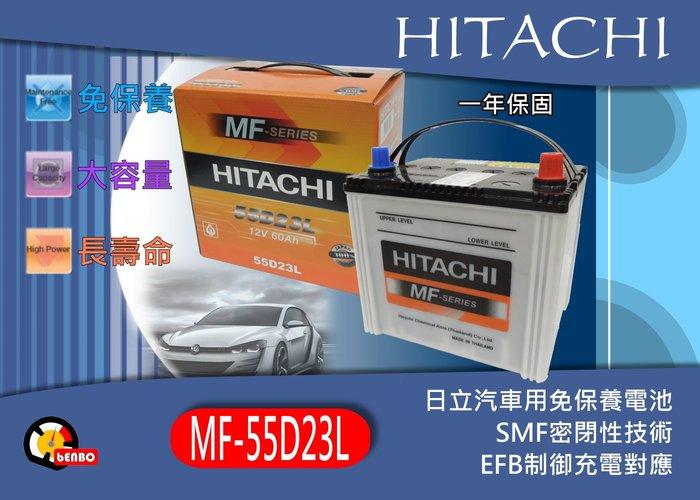 """""""奔寶國際"""" HITACHI 日立 55D23L 加水式汽車電瓶 運匠的最愛 EFB充電制御對應 充電效能增130%"""