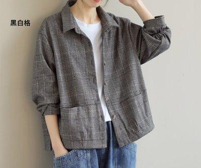 棉花糖衣e二月寬鬆顯瘦千鳥格紋設計無內裡外套_呎吋問題多利用問與答