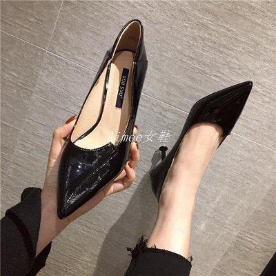 Empress丶鞋遇2019新款女鞋春季單鞋百搭正韓尖頭性感法式少女高跟鞋女細跟