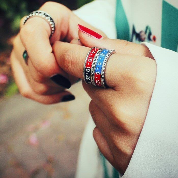 999個性戒指 指環 戒指環 創意 男戒CARMEN 定制版情侶表盤撞色齒牙指環男女戒指情侶對戒尾戒