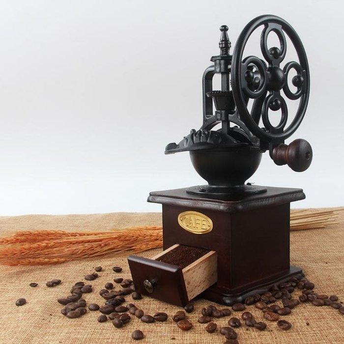 咖啡磨豆機手動咖啡豆研磨家用磨粉鑄鐵小型咖啡機復古大手輪