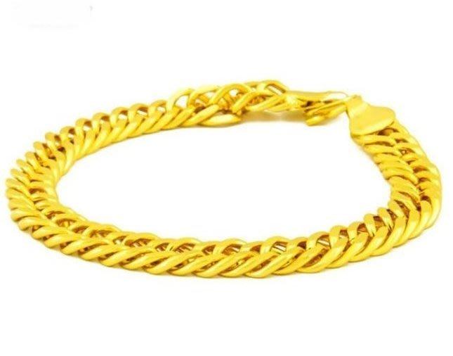 5S3A14-SL013歐幣霸氣男士牛仔手鏈黃銅鍍金首飾土豪金沙金首飾
