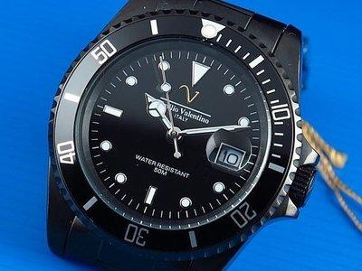 Emilio Valentino范倫鐵諾全不鏽鋼黑水鬼submariner日本星辰机芯,防水50米,IP black