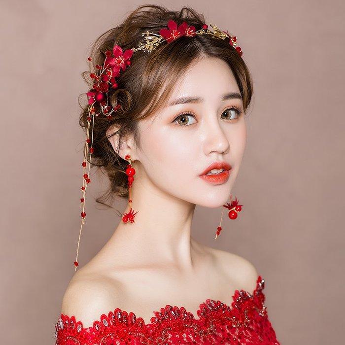 解憂zakka~ 新娘頭飾2019新款結婚紅色婚紗發飾韓式超仙敬酒服森系漢服配飾品#頭飾#髮飾