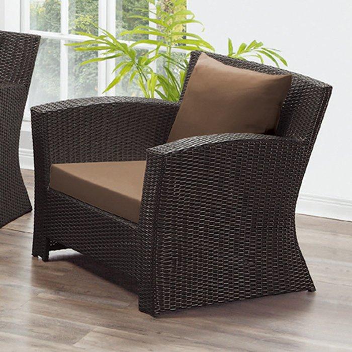 【在地人傢俱】19 樂樂購-編織咖啡色墊1人/一人/單人籐椅/藤沙發椅 JL96-4