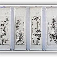 yes99buy加盟-愛新水墨梅蘭竹菊四條屏畫國畫四君子水墨畫四幅客廳裝飾已裝裱