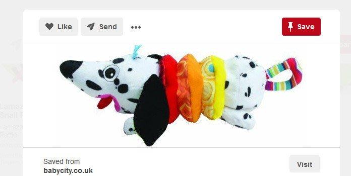 ☆奇奇娃娃(SE)☆Lamaze品牌,黑色斑點狗狗拉震布玩具(新款)~200元