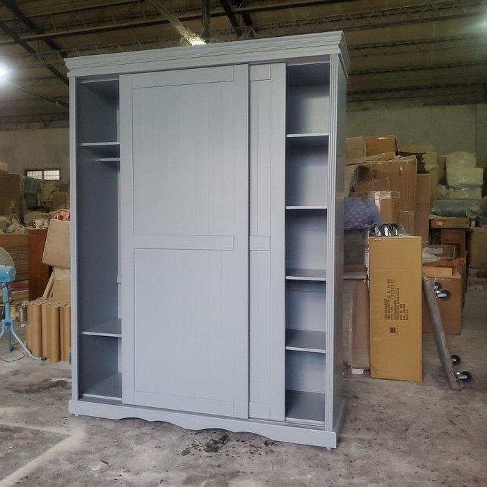 美生活館 全新 美式鄉村風格 客訂 雙推門 灰藍色 衣櫥 /衣櫃 收納櫃 也可修改尺寸顏色再報價