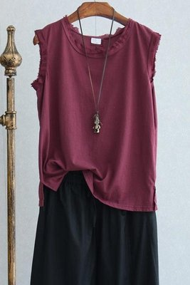 店長嚴選文藝隨性撕邊設計純色無袖T恤背心女夏季寬鬆棉麻女裝t 東京衣櫃