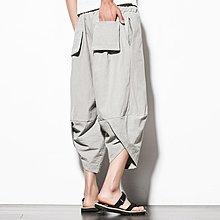 逆主流  中國風寬鬆蘿蔔褲/大碼七分哈倫褲/仿棉麻闊腿褲