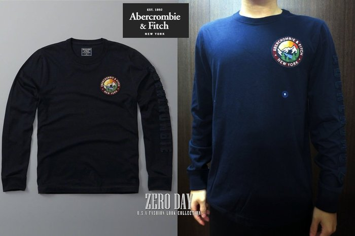 零時差美國時尚網A&F真品Abercrombie&Fitch Logo Graphic Long-Sleeve Tee藍