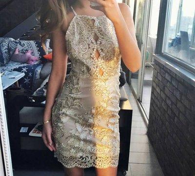 KillBeer:歐美品牌同款氣質透膚金絲刺繡蕾絲雕花性感挖肩包臀旗袍感洋裝連身裙topshop asos FP H&M
