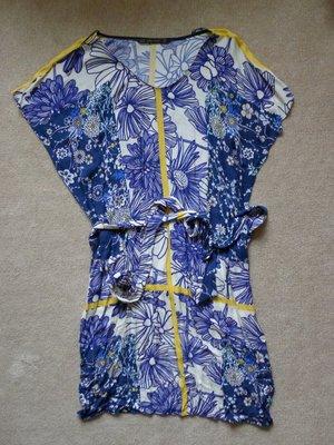 降價囉~~[專櫃正品] ZARA 藍花黃線條 熱帶夏威夷風棉質洋裝 XS