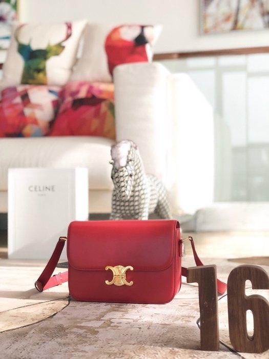 Melia 米莉亞代購 19ss Celine 凱旋門扣 肩背斜背包 小方包 晚宴包 小羊皮內裡 奢華時尚 紅色