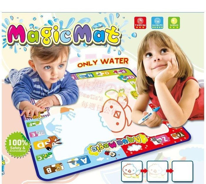 朵媽の店 彩盒裝超大78*78魔術塗鴉毯 附畫筆 圖章 魔術毯 魔術畫布 水塗鴉 神奇漫畫毯 早教玩具 塗鴉玩具