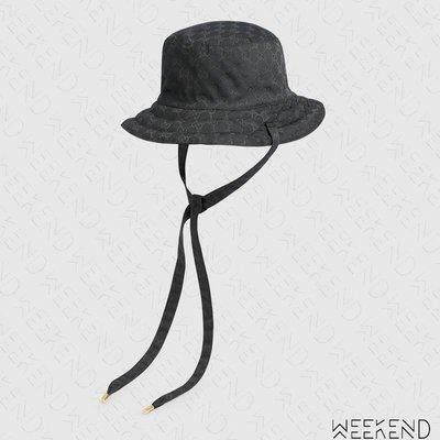 【WEEKEND】 GUCCI 雙面戴 帆布 尼龍  綁帶 漁夫帽 帽子 黑色 男女同款 626917