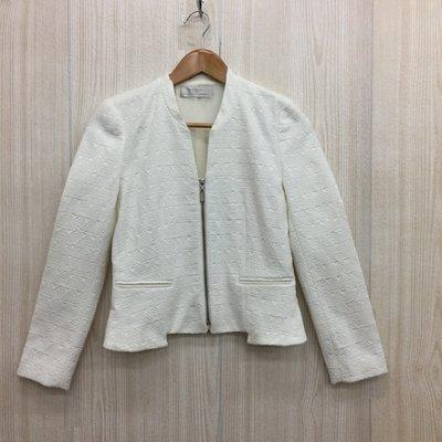 【愛莎&嵐】ZARA 女 白色開襟拉鍊外套 / S 1071015 (限Peggy下單)