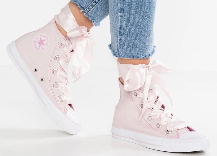 [Roen羅恩代購] Converse Chuck Taylor All Star 絲綢鞋帶 高筒女帆布鞋 淺粉 櫻花粉