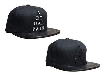 { POISON } ACTUAL PAIN Pyramid Logo Leather Duck Cloth Hat 小羊皮粗帆布材質