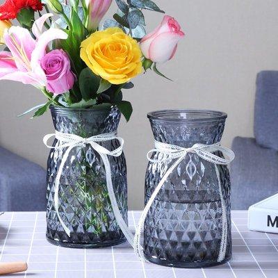 歐式花瓶玻璃花瓶擺件家用玻璃瓶客廳透明創意插花瓶家居歐式小清新水培瓶