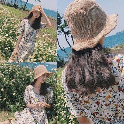 ?新鮮貨-范智喬同款帽子夏季針織漁夫帽女韓國文藝小清新凹造型盆帽遮陽帽