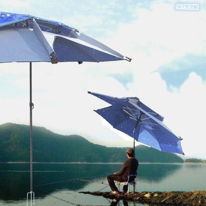 【不二】連球2.1米2節鋁合金雙層45°開口傘 釣魚傘 釣魚裝備戶外休閒遮陽傘遮雨傘Lc_192