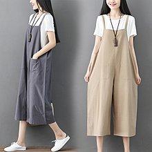 ♡ 右米衣飾 ♡ 日系 文藝 中大尺碼 棉麻透氣 超實搭基本款 闊腿亞麻休閒吊帶褲