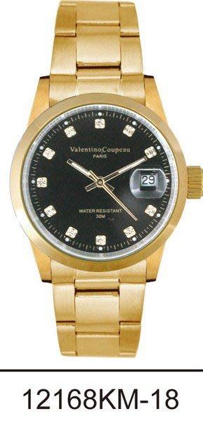 (六四三精品)Valentino coupeau(真品)(全不銹鋼)精準男錶(附保証卡)12168KM-18