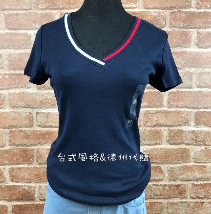 Tommy Hilfiger女版V領經典合身短袖T恤正版新款夏季美國代購
