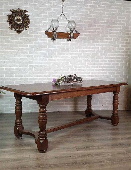 【卡卡頌  歐洲古董】法國老件 紮實  耐看   橡木 全實木  210cm  長餐桌  工作桌  t0206 ✬