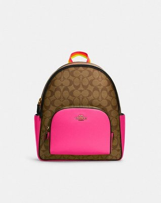 Coach Court Backpack In Colorblock Signature Canvas