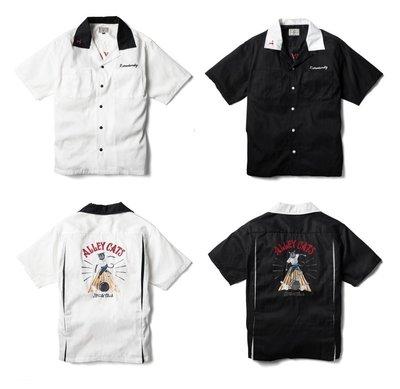 { POISON } RETRODANDY ALLEY CAT BOWLING SHIRT 鎖鍊繡滿版刺傳統美式保齡球衫