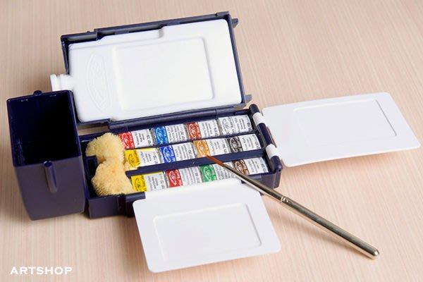 【Artshop美術用品】英國 溫莎牛頓 Professional 專家級塊狀水彩 (12色) 藍盒 0190685