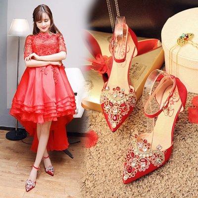 結婚鞋 新款水鑽細跟紅色高跟鞋民族風中式秀禾鞋婚禮鞋—莎芭
