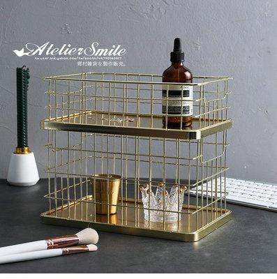 [ Atelier Smile ]  鄉村雜貨 北歐風 / 金屬家飾系列 / 電鍍金 鐵製收納籃 衣物籃 # 高款