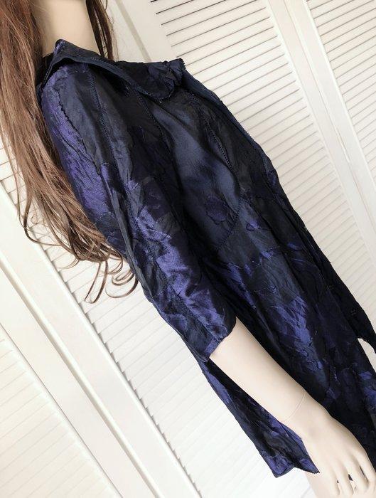 夏姿 寶藍色純絲花苞式開釦洋裝大衣兩穿