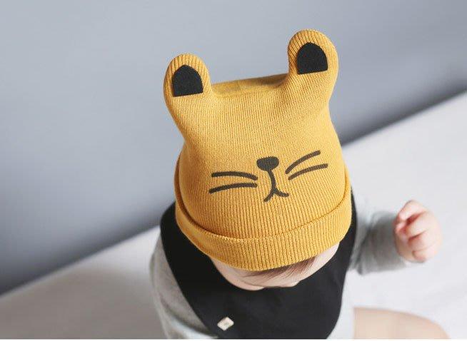 2016新款韓版貓咪兒童寶寶秋冬毛線帽 針織翻邊套頭保暖帽  寶寶保暖帽