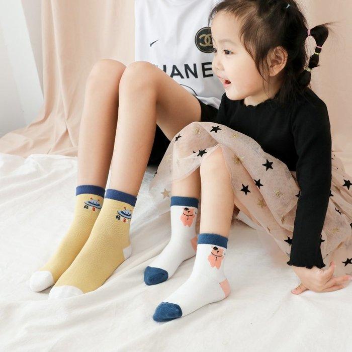 【小阿霏】寶寶兒童5雙入棉襪 超值秋冬可愛動物機器人精梳棉襪 百搭個性潮襪子PA370