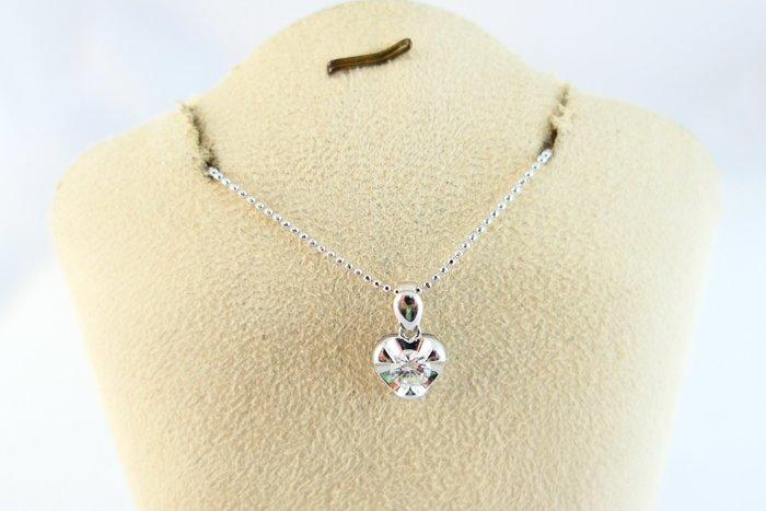 [吉宏精品交流中心]30分 天然鑽石 白K金  心形造型 墬子